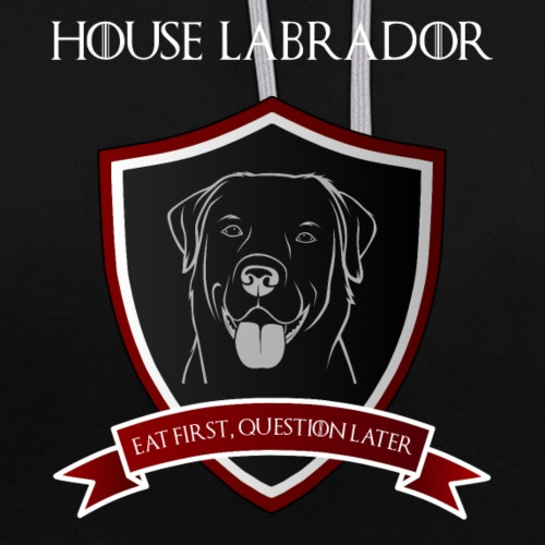 House Labrador - Eat first, question later - Kontrast-Hoodie