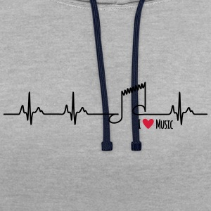 I love music - Contrast Colour Hoodie