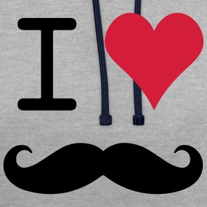 I love mustache - Contrast Colour Hoodie