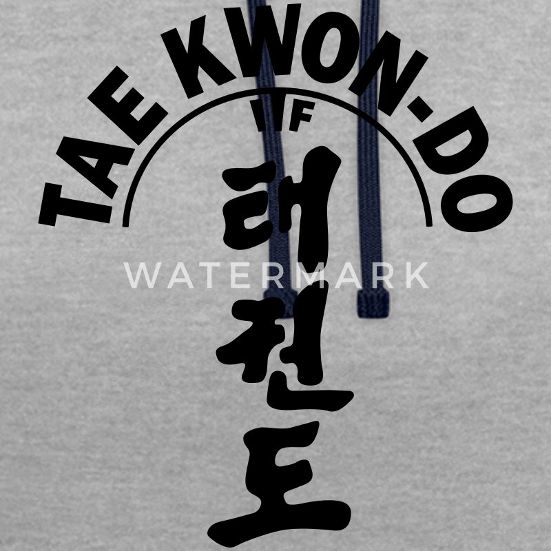 ITF Tae Kwon Do symbols - Contrast Colour Hoodie