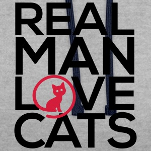 Real man love cats - Contrast hoodie
