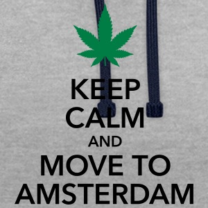 keep calm move to Amsterdam Holland Cannabis Weed - Kontrast-Hoodie