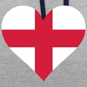 A Heart For England - Contrast Colour Hoodie