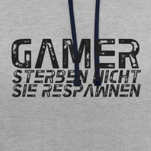 GAMER DO NOT DIE RESPAWN - Contrast Colour Hoodie