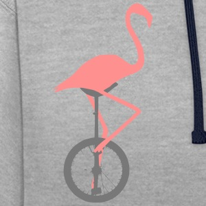 Flamingo on unicycle - Contrast Colour Hoodie