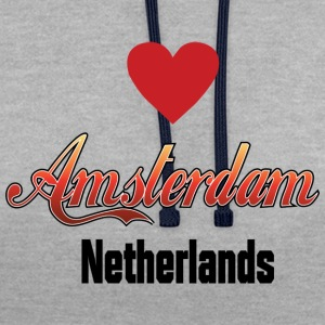 Amsterdam Netherlands - Contrast Colour Hoodie