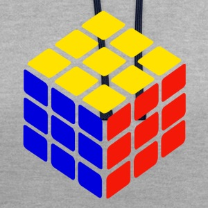 blue yellow red rubik's cube print - Contrast Colour Hoodie