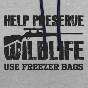 Obtaining freezer bag by wildlife - Contrast Colour Hoodie