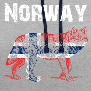 Nation-Design Norway Wolf - Kontrast-Hoodie