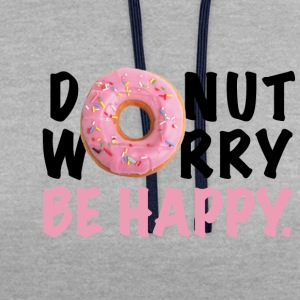 DOUGHNUT worry be HAPPY - Kontrast-hettegenser
