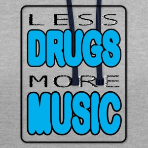 Less Drugs More Music - Felpa con cappuccio bicromatica