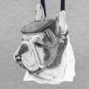 Bouledogue français w / rapport - Sweat-shirt contraste