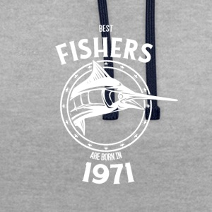 Present for fishers born in 1971 - Contrast Colour Hoodie
