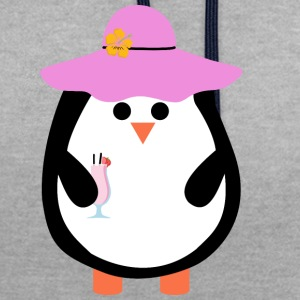 Penguin with cocktail - Contrast Colour Hoodie
