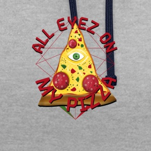 ALL EYEZ ON MY PIZZA Illuminati Italy Fun T-Shirt - Contrast Colour Hoodie