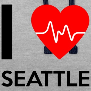 J'aime Seattle - J'adore Seattle - Sweat-shirt contraste