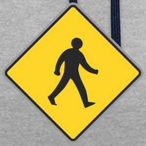 Road Sign walking man yellow 2 - Contrast Colour Hoodie