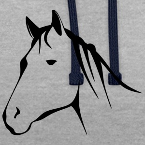 Horse head, horse, stallion - Contrast Colour Hoodie