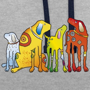 Dogs Dogs Hounds best friends best friends - Contrast Colour Hoodie