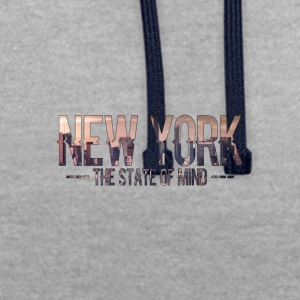 New York - The state of mind - Contrast Colour Hoodie