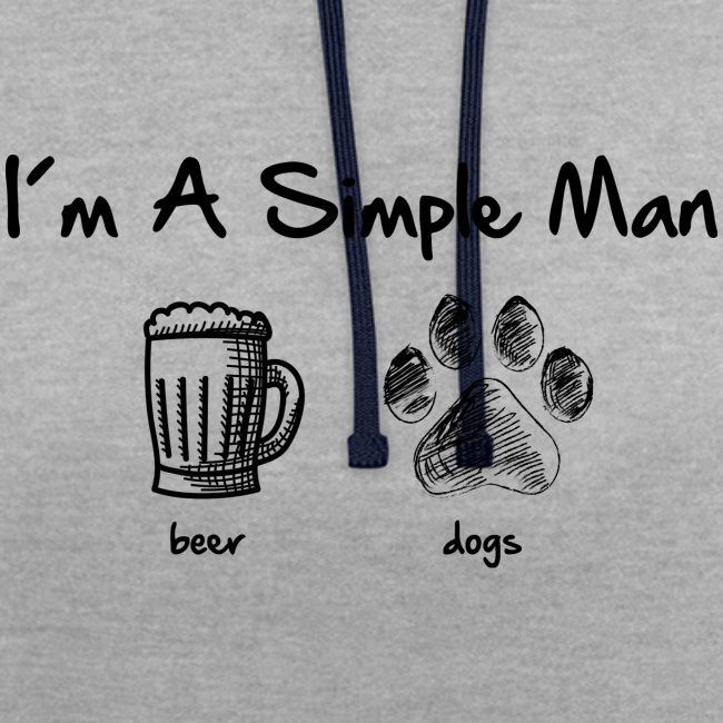 Vorschau: simple man dogs beer - Kontrast-Hoodie