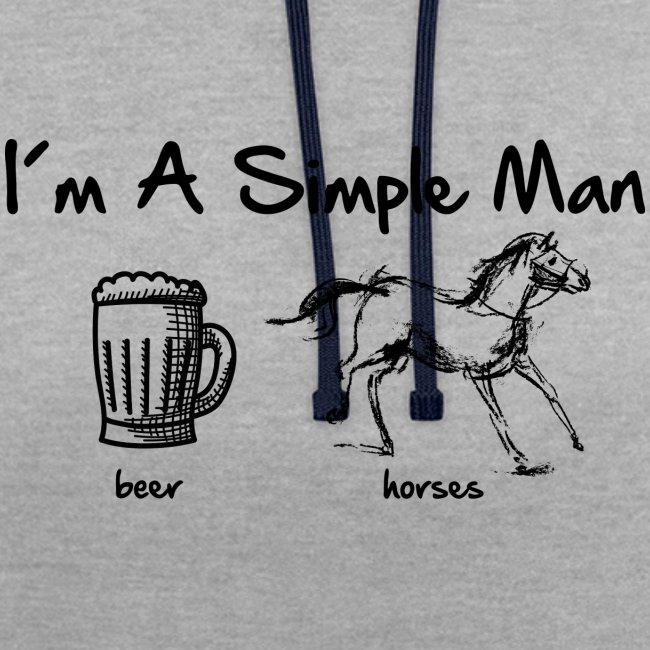 Vorschau: simple man pferd - Kontrast-Hoodie