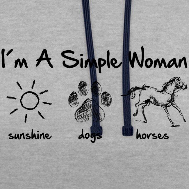 Vorschau: simple woman horse dog - Kontrast-Hoodie
