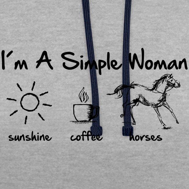 Vorschau: simple woman horse - Kontrast-Hoodie
