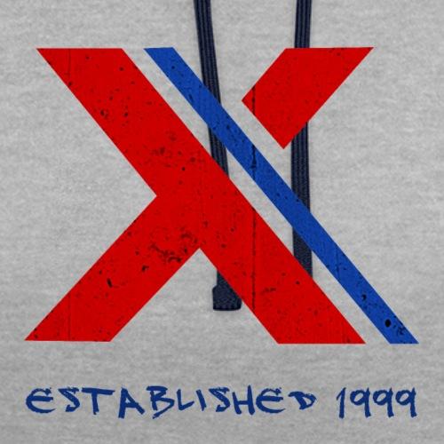 extrembb logo red blue x - Kontrast-Hoodie