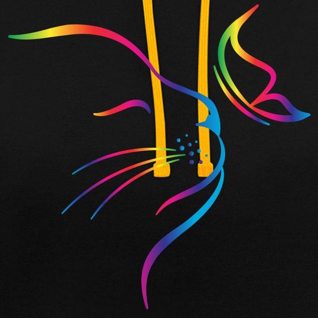 Vorschau: rainbow butterfly cat - Kontrast-Hoodie