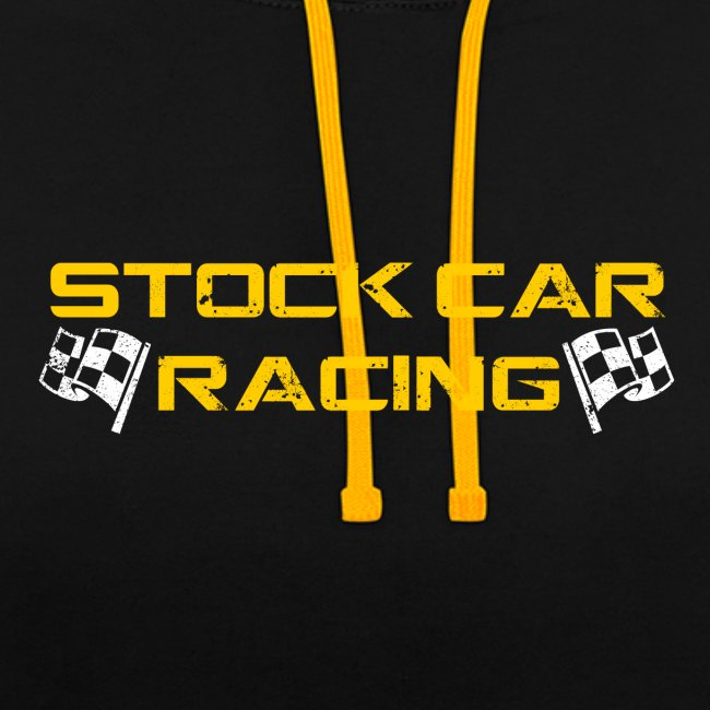 Stock Car Racing yellow logo distressed with flags