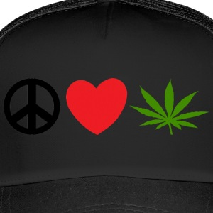 Peace Love Marijuana Cannabis Weed Pot - Trucker Cap