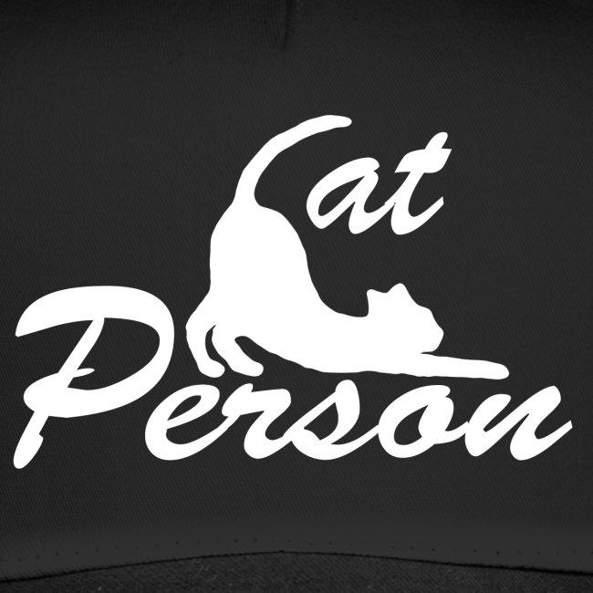 cat person - weiss auf schwarz