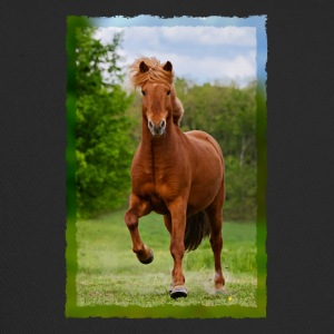Icelandic horse running in tölt over meadow horse photo - Trucker Cap