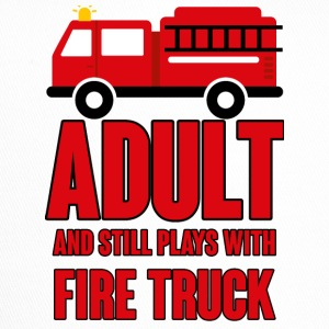 Fire Department: Adult and still plays with fire truck - Trucker Cap