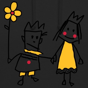 Stick Figure Queen Princess KingQueen couple - Unisex Hoodie