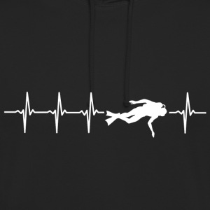 I love diving (diving heartbeat) - Unisex Hoodie