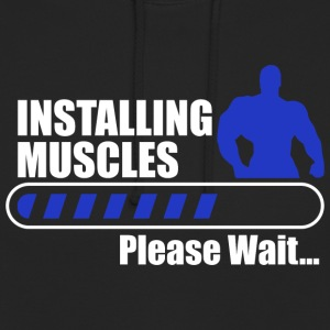 Installing muscles gym body building fitness - Unisex Hoodie