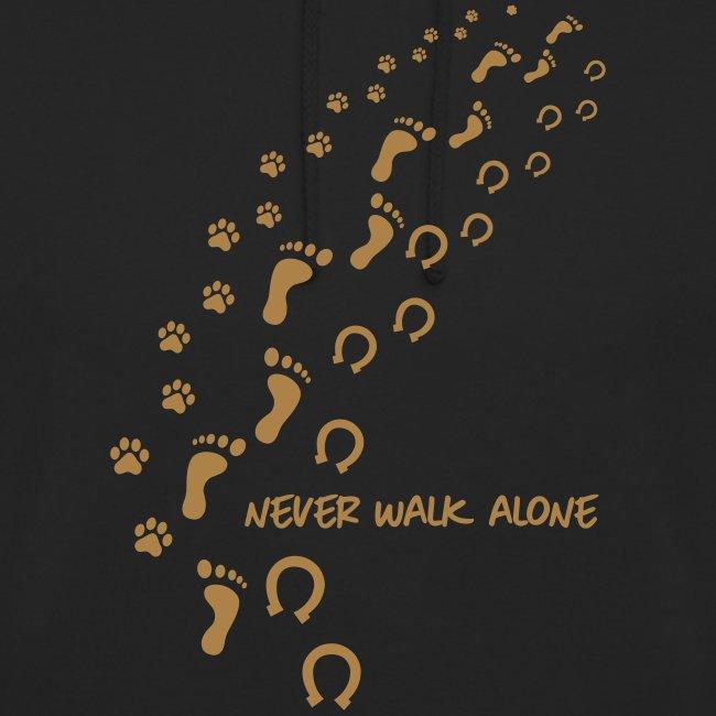 Vorschau: never walk alone hund pferd - Unisex Hoodie