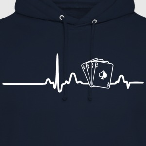 ECG HEART LINE POKER PLAYER white - Unisex Hoodie