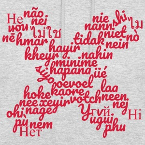 Word cloud no in X-shape in many languages - Unisex Hoodie