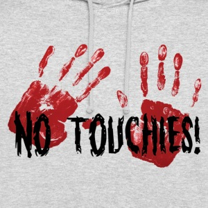 No Touchies 2 Bloody Hands Behind Black Text - Sweat-shirt à capuche unisexe