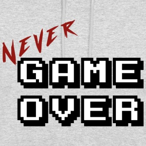 Aldri game over hvit - Unisex-hettegenser
