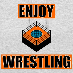 ENJOY_WRESTLING_ORANGE_DesASD - Bluza z kapturem typu unisex