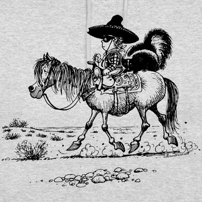 Thelwell Cowboy mit einem Stinktier