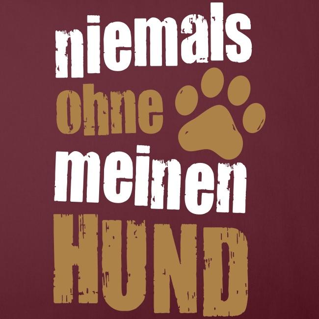 Vorschau: niemals ohne meinen hund - Sofakissenbezug 44 x 44 cm