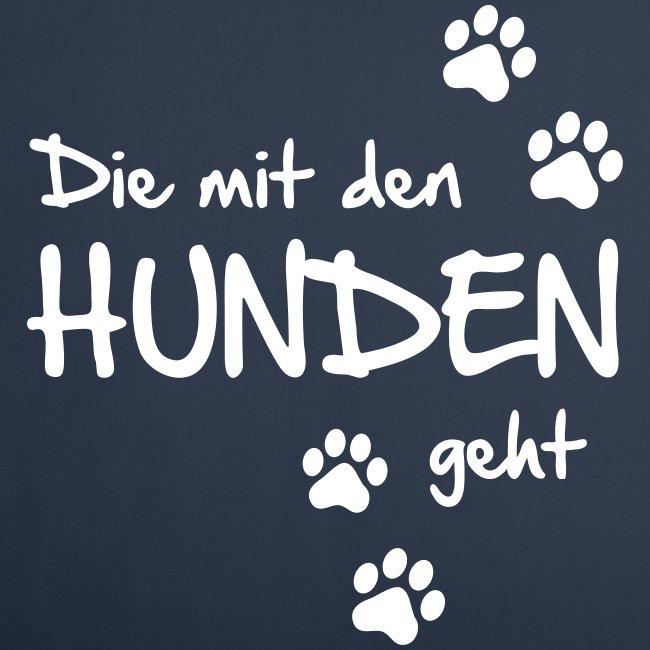Vorschau: Die mit den Hunden geht - Sofakissenbezug 44 x 44 cm