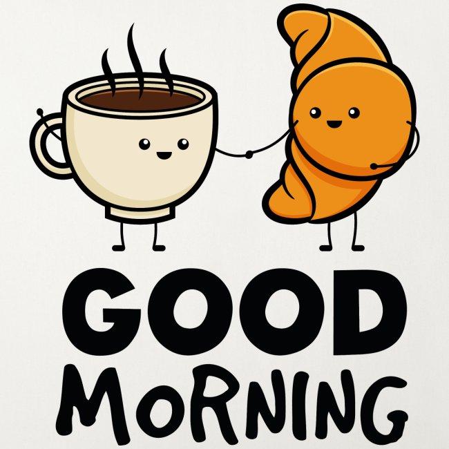 Guten Morgen Frühstück Kaffee Croissant Lustig Fun Sofakissenbezug 44 X 44 Cm