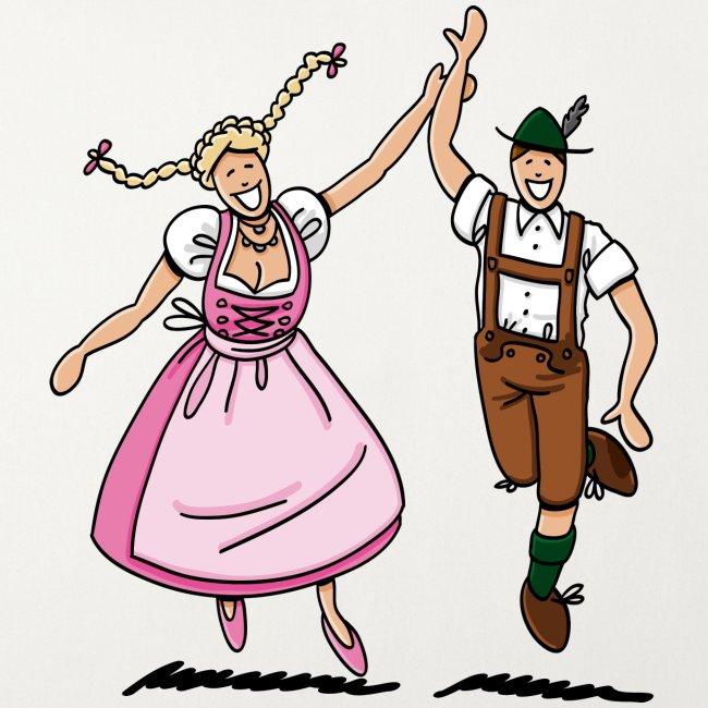 Oktoberfest Paar in Dirndl und Lederhosen