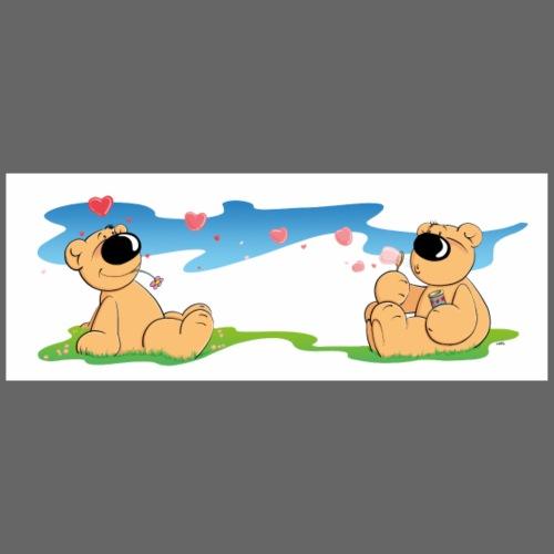 Verliebte Bären mit Seifenblasen - Panoramatasse